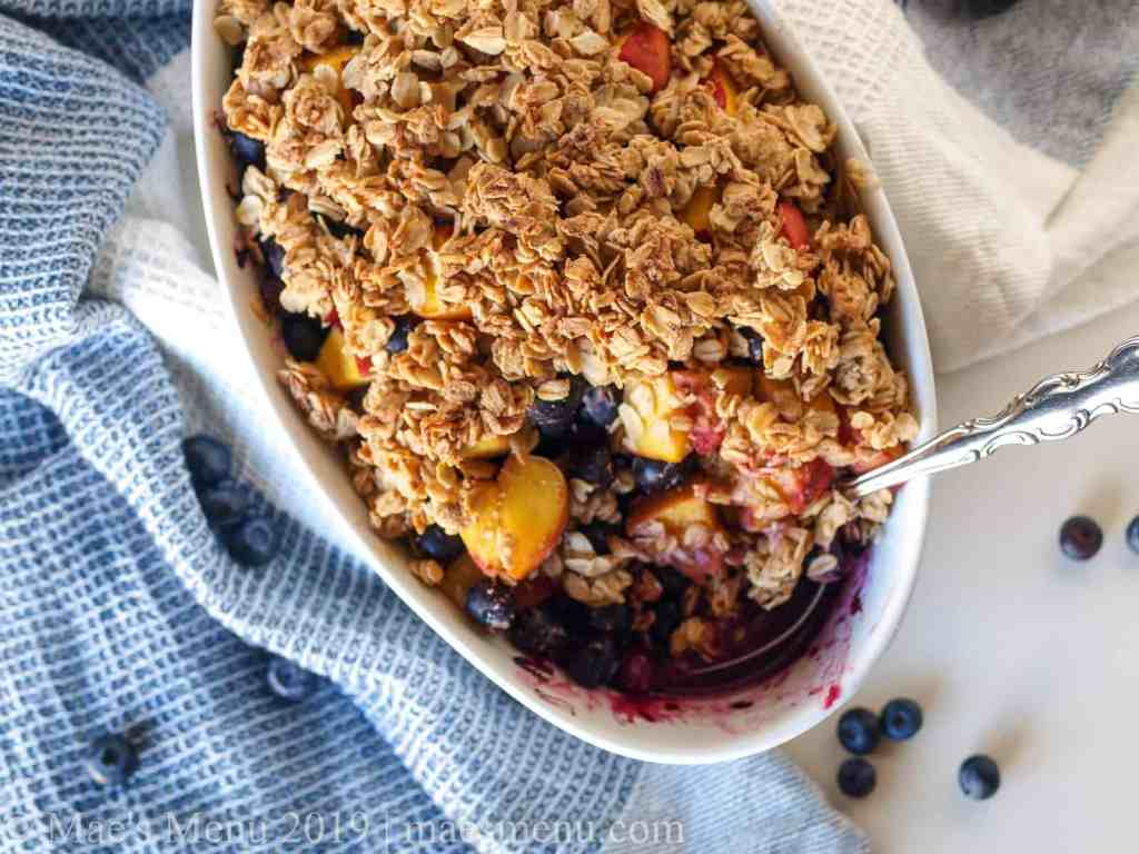 Blueberry Peach Crumble in a baking dish.