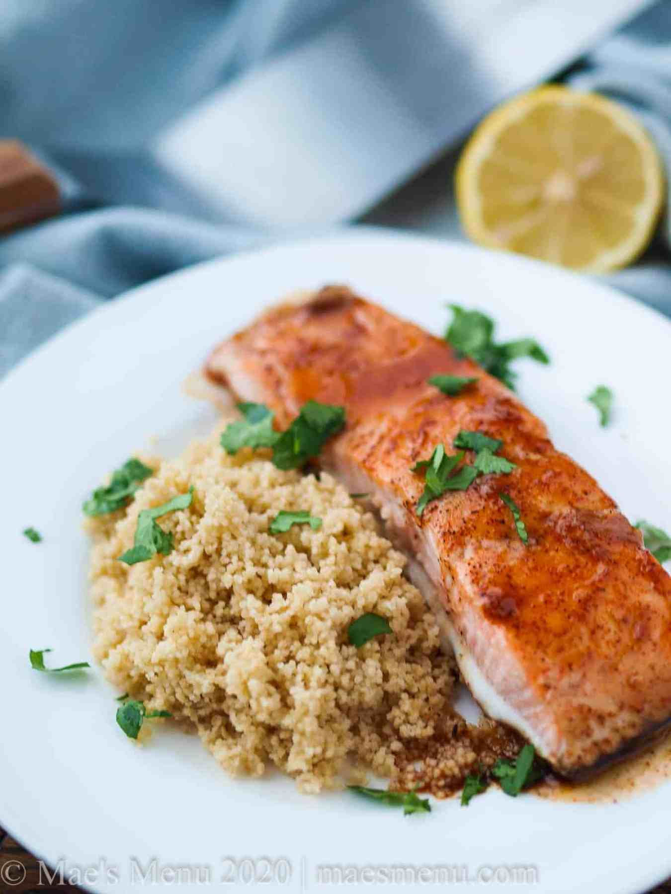 A nice fillet of spicy bourbon glazed salmon over couscous.