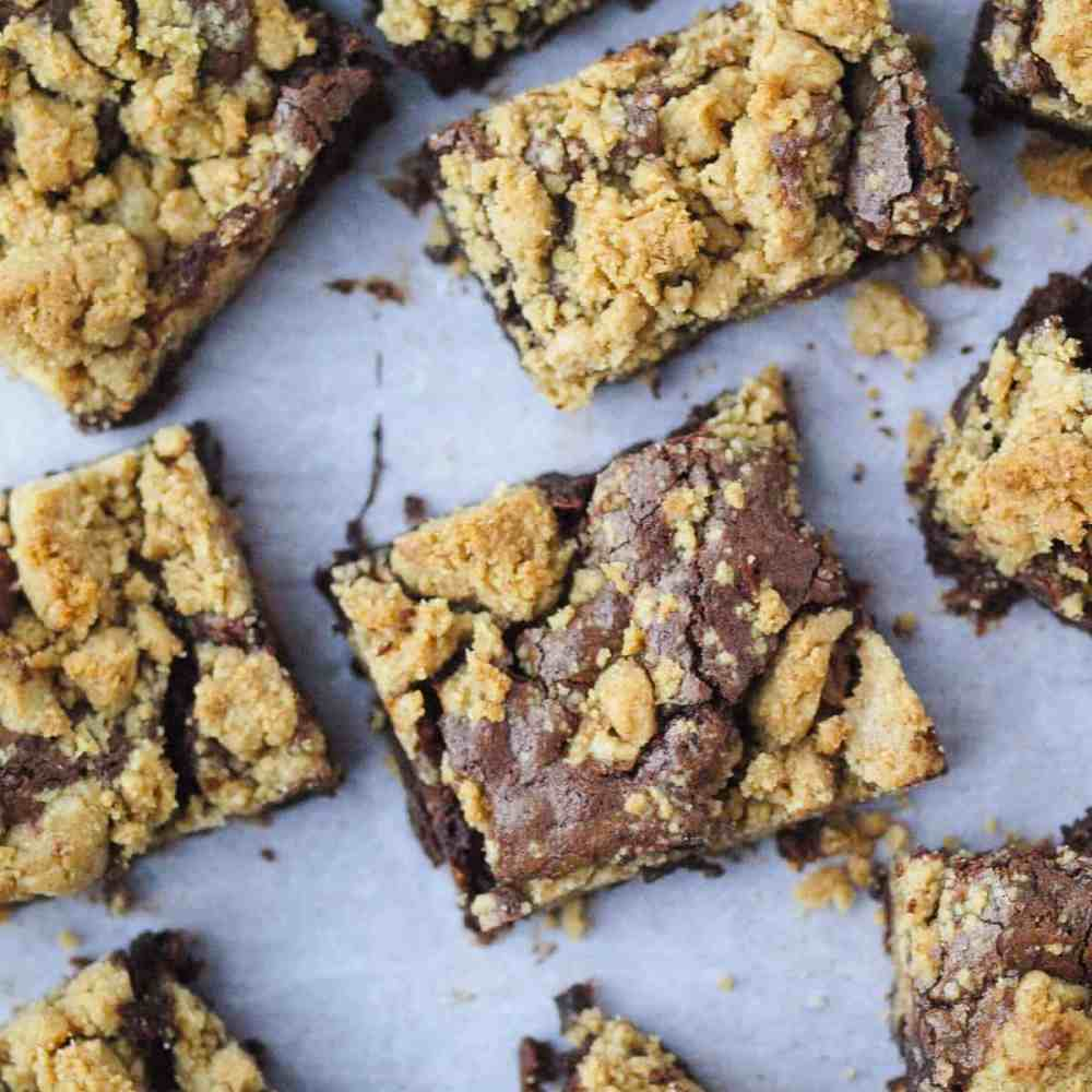 A sheet of Peanut Butter Brookies (Peanut Butter Brownie Cookies)