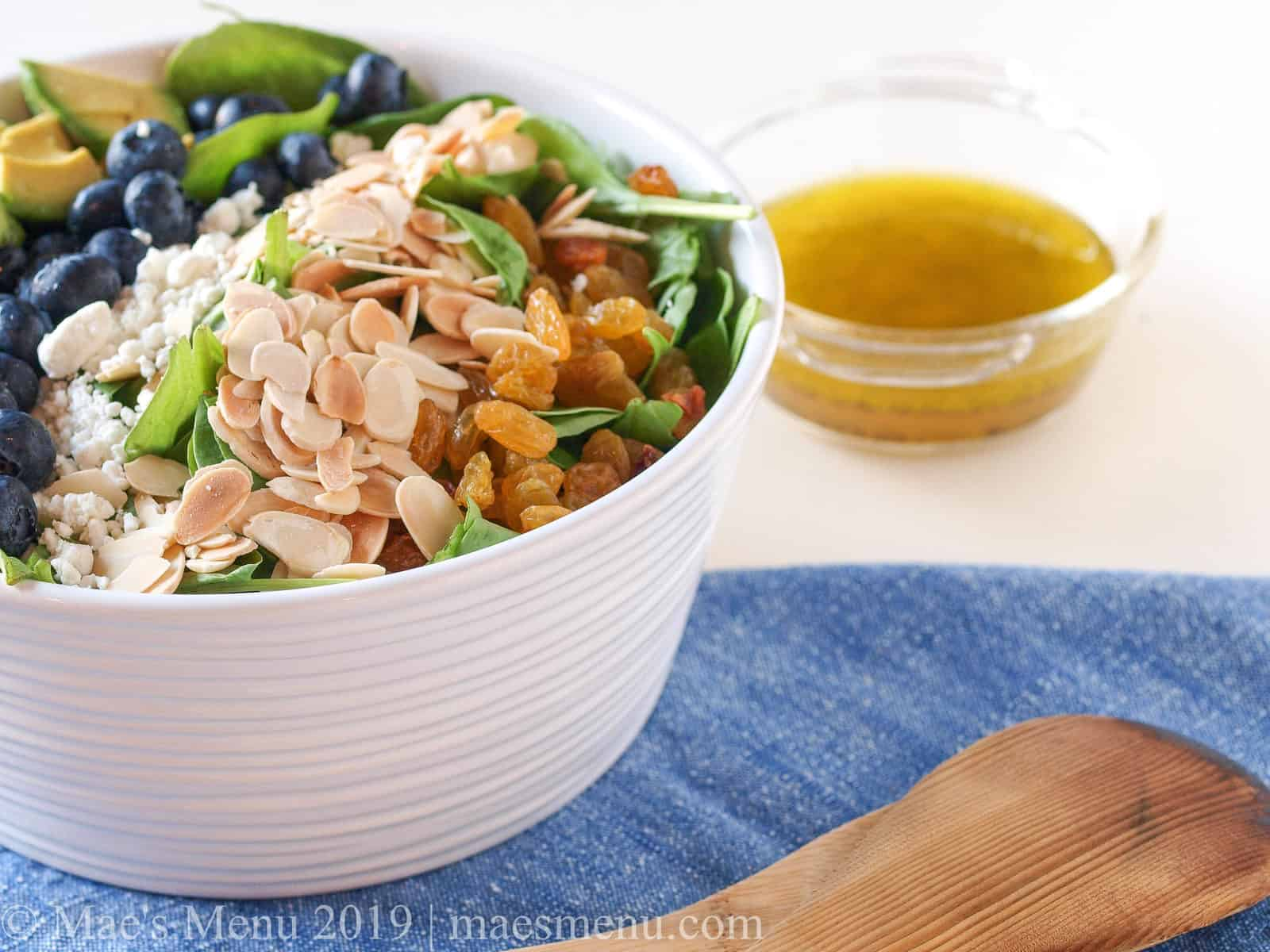 A large white bowl of blueberry spinach salad.