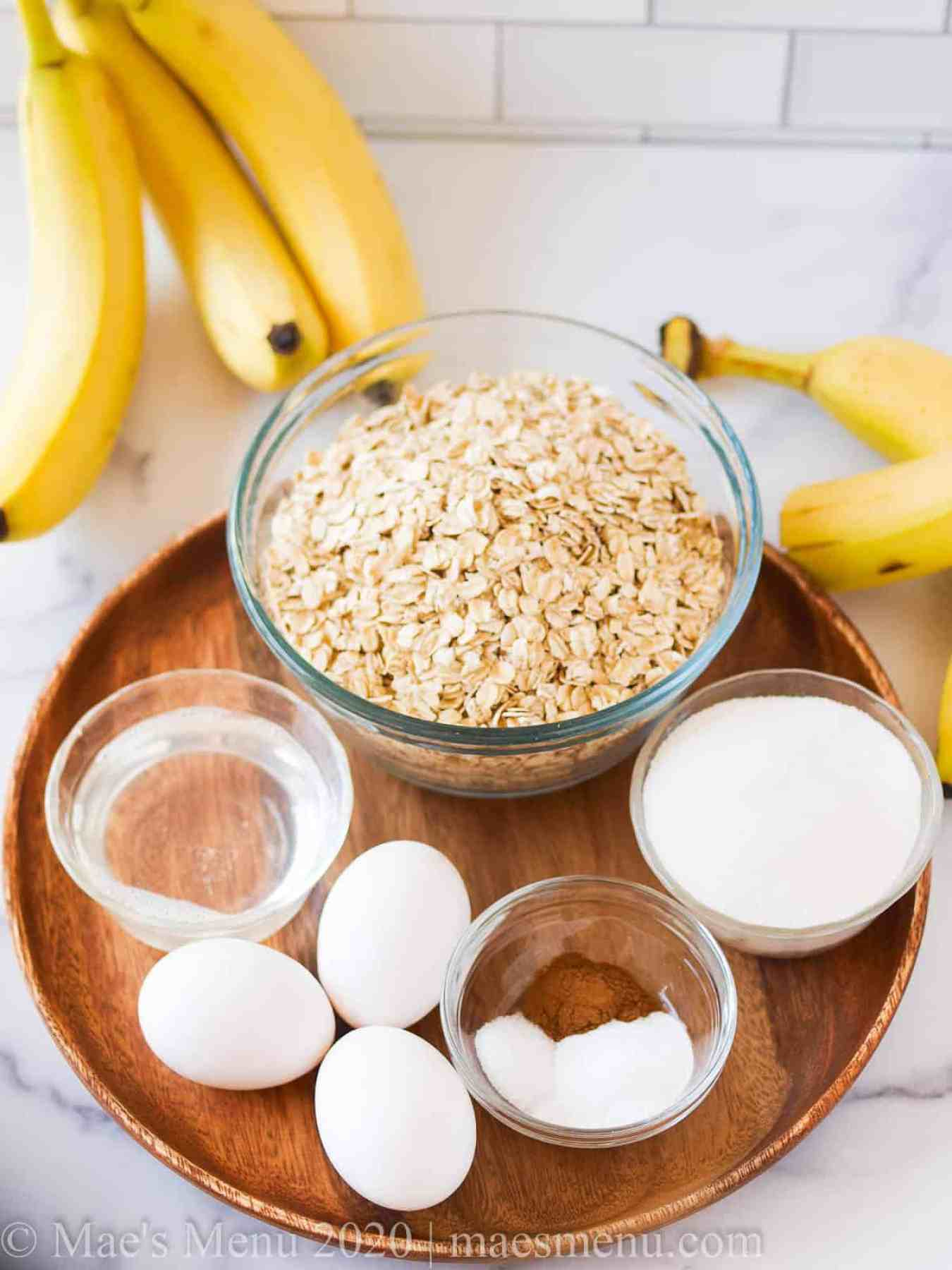 All the ingredients for banana oatmeal cake recipe.