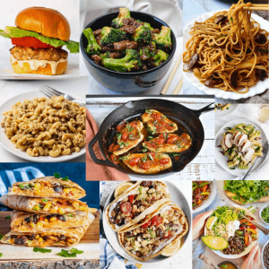 a collage of 9 of the photos of the recipes in this back to school dinner round up!