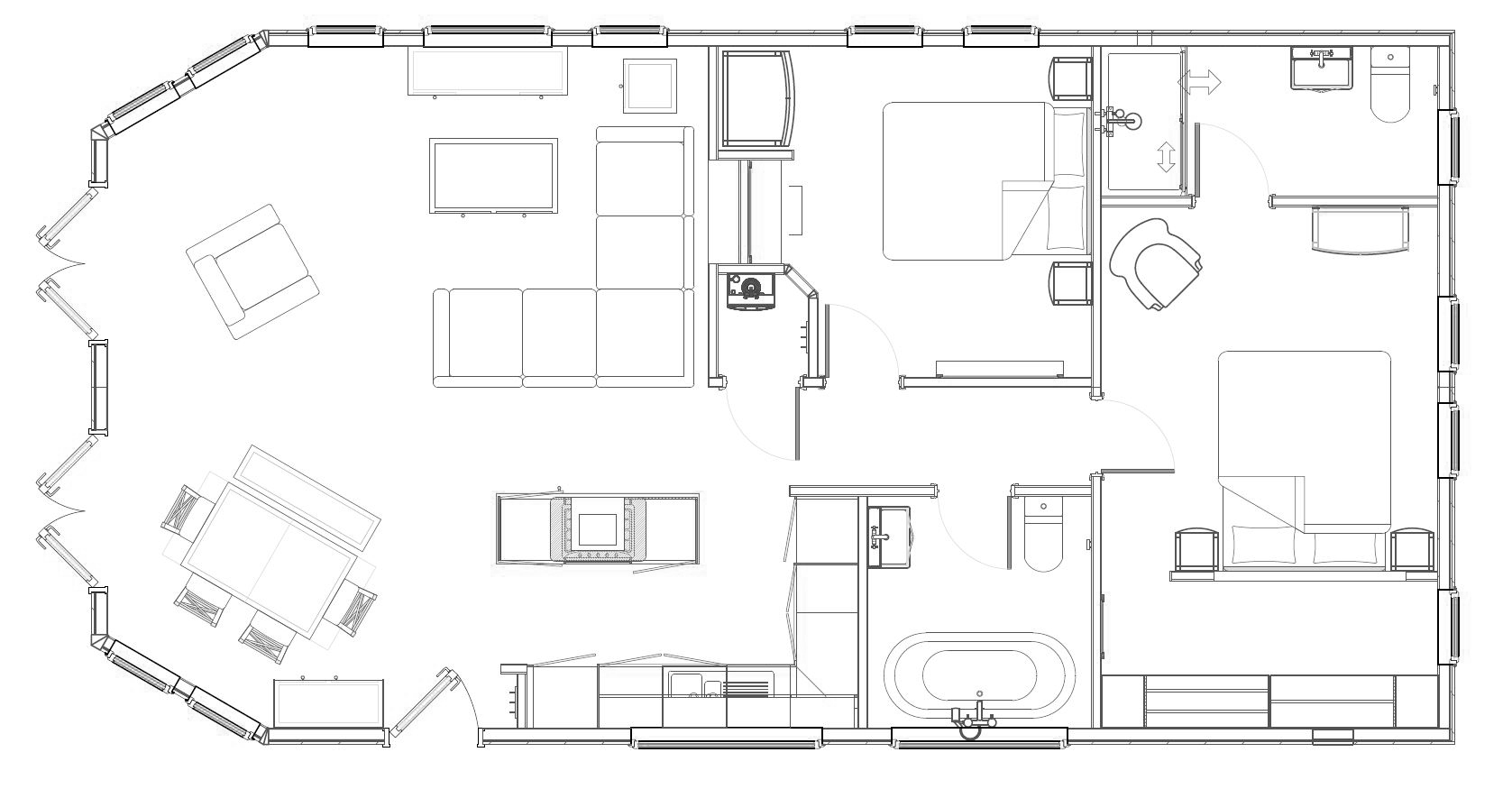 2 bed Glass House Lodge Floorplan