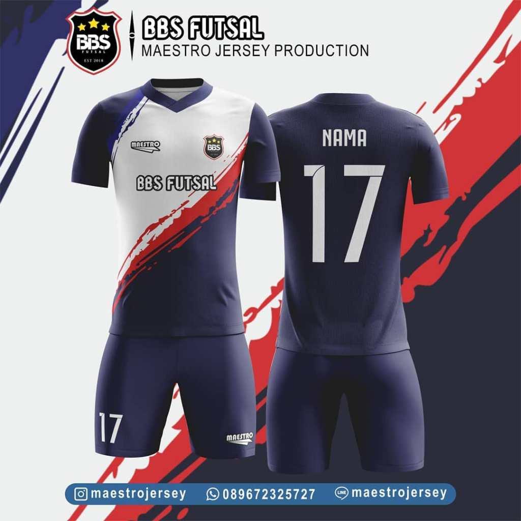 Desain Jersey Futsal Biru Navi
