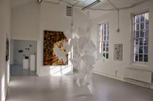SoDam Choi, Lili Wang and Bo Wu. Installation view of 'artis pi' in the Cookhouse at Chelsea College of Arts, London. Photo credit Ana Carolina Rodrigues.
