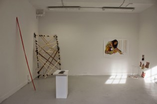 Ana Carolina Rodrigues, Maria Jose Carvalho, and Neil Farnan. Installation view of 'artis pi' in the Cookhouse at Chelsea College of Arts, London. Photo credit Ana Carolina Rodrigues.