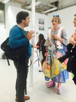 Artist Grayson Perry (right) visits MA Fine Art Summer Show at Chelsea College of Arts, London. (left) Adam Zoltowski. Photo credit Kelise Franclemont.
