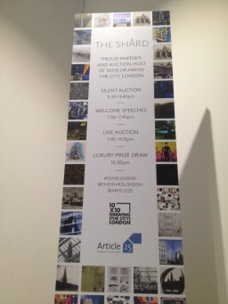 Article25 10x10 art auction at the Shard - sign