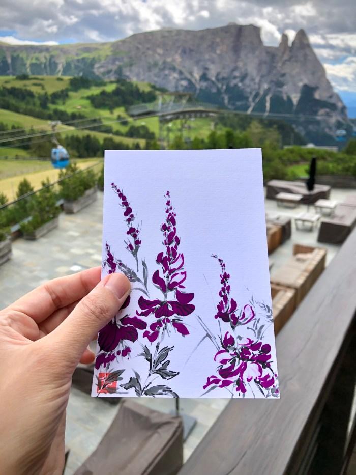 alpine meadow ink painting postcard
