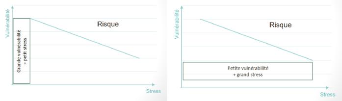 2 graphiques illustrant le modèle vulnérabilité/stress et le risque de développer une maladie telle que la schizophrénie.