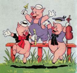 les trois potes âgés en bons petits cochons ont la queue en tirebouchon ça aide pour poter et....pour tripoter aussi c'est recherché...!