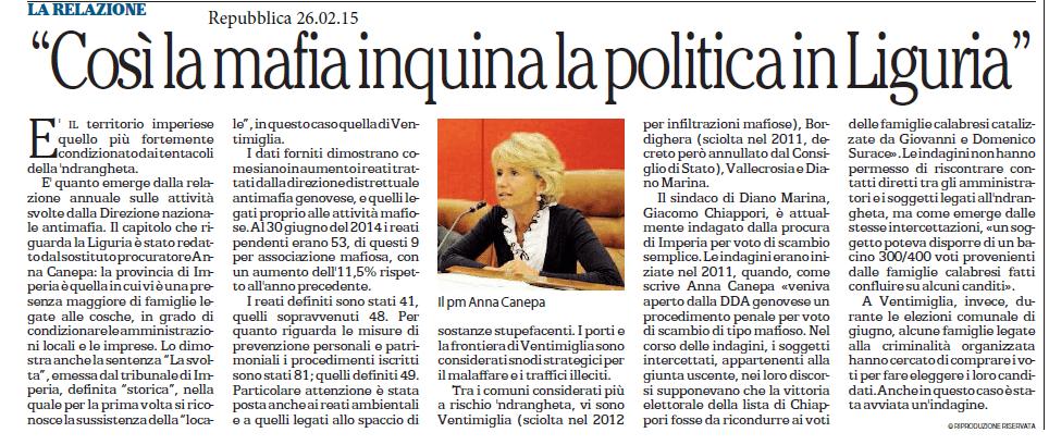 Anna Canepa: Mafia e Politica in Liguria