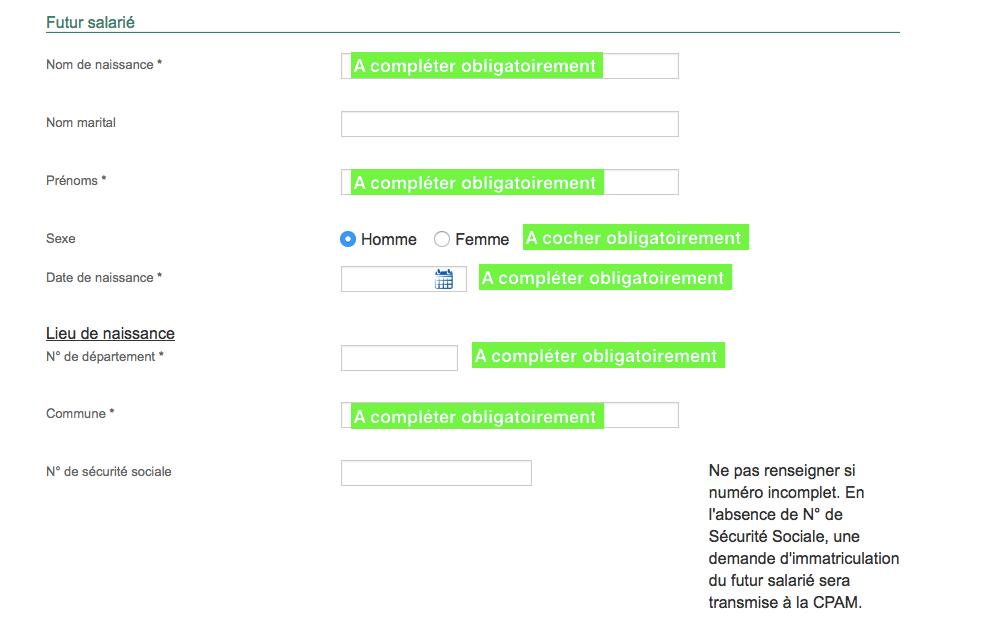 formulaire DPAE