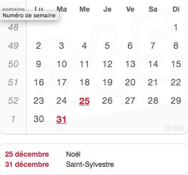 paie calendrier décembre