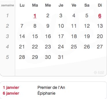 paie calendrier janvier