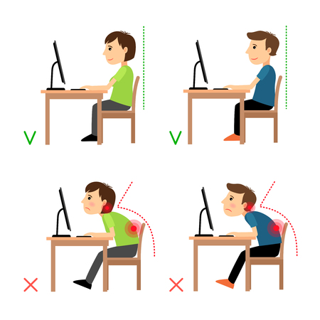49964518 - incorrect and correct back sitting position. man and woman sitting before monitor example. vector illustration.