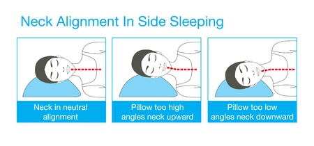 49365147 - right alignment of neck, head, and shoulder in sleep with back sleeping posture. this is healthy lifestyle illustration.