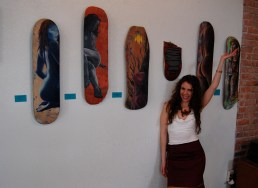 Posing with my paintings