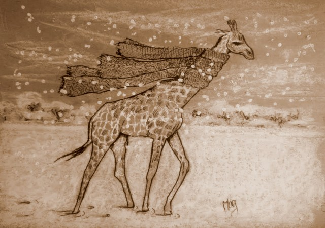 Girafe in the snow
