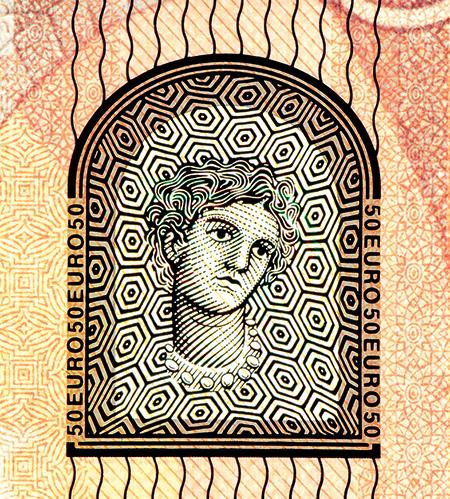 Detail bankovky 50 euro řady Europa