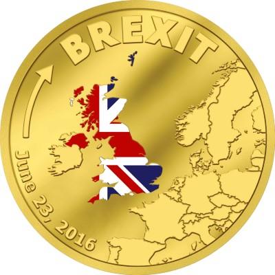 Zlatá mince Brexit v nominální hodnotě 20 dolarů