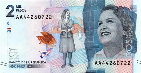 Kolumbijské bankovky 5.000 a 2.000 pesos: nová řada z roku 2016