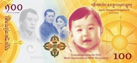 Nové bhútánské bankovky k 1. narozeninám korunního prince