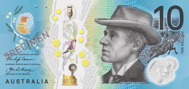 Nové australské bankovky: polymerová bankovka 10 AUD