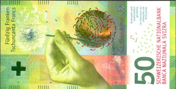 Bankovka roku 2016 je švýcarská 50franková bankovka