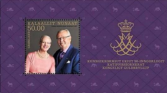 Nové známky ke zlaté svatbě dánské královny