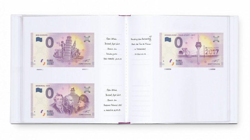 Otevřené album na 0,- euro suvenýry. Do alba lze zapsat kdy a kde byla příslušná bankovka zakoupena.