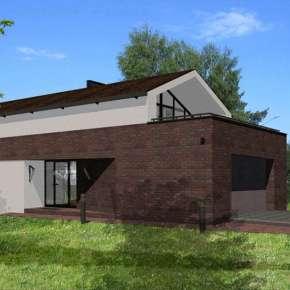"""Дом """"Современная изба"""" - проект двухэтажного дома с двухскатной крышей и мансардой"""