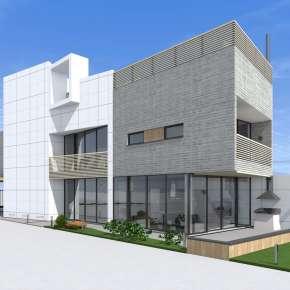 Проект узкого дома с бассейном на крыше