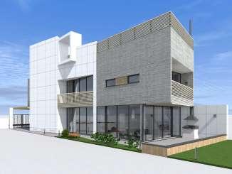 Проект узкого и длинного дома с бассейном на крыше