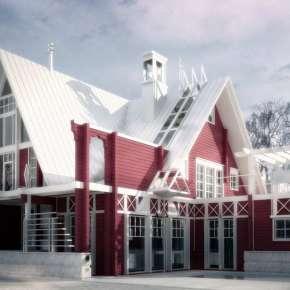 Проект современного загородного дома из бруса с мансардой в Голицыно