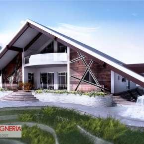 Проект современного дома с двухскатной крышей