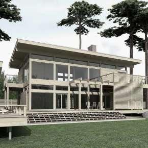 Проект дома с террасами и баней