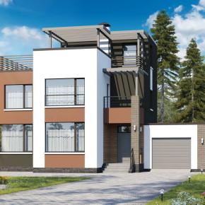 Проект двухэтажного дома с плоской крышей «Рефлекс»