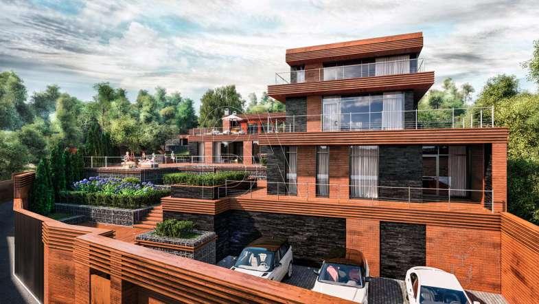 Проект модернистского дома на склоне