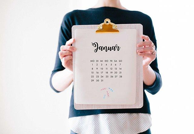 Willkommen 2018! Kalender-Printable gratis herunterladen!
