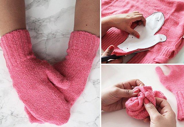 Upcycling: Handschuhe aus altem Pulli nähen!