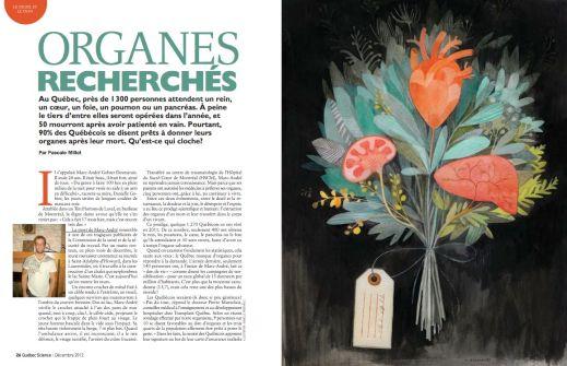 """""""Organes recherchés,"""" par Isabelle Arsenault, Québec Science"""