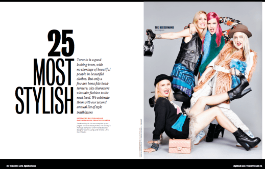 """""""25 Most Stylish."""" Photography by Francisco Garcia for Toronto Life."""
