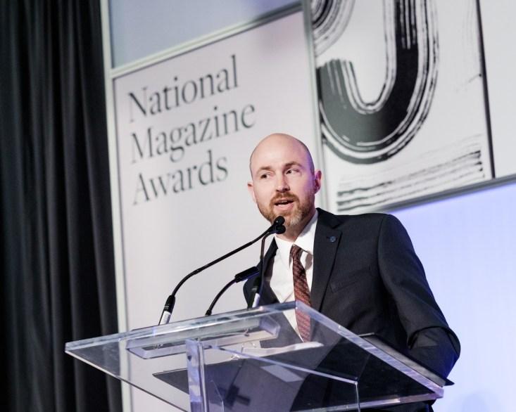 Matt Hilliard-Forde of OMDC presenting the award for Best Magazine Cover at the 2016 National Magazine Awards