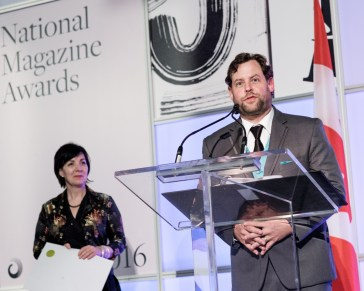 Carolyn Vesely of Ontario Arts Council with MC Chris Turner, presenting the award for Fiction at the 2016 National Magazine Awards