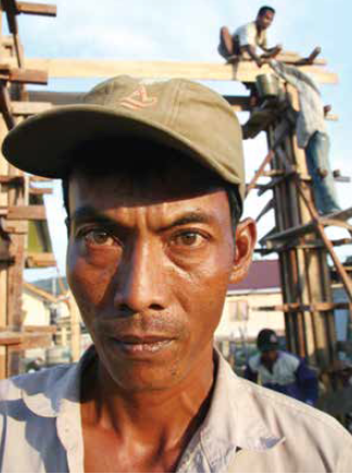 A man who was trafficked and worked on Red Cross reconstruction projects in Aceh, Indonesia. (Photo: Virgil Grandfield / Eighteen Bridges)