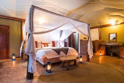 Tent bedroom at Mukambi Safari Lodge