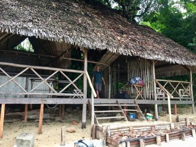 Wooden house along beach