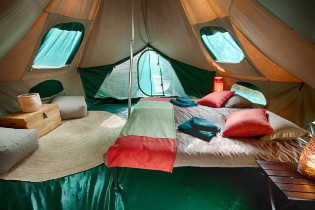 Inside bell tent in Serengeti