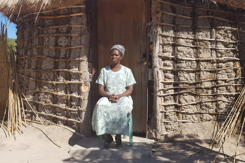 Subsistence farmer Kunyima Ramosimane at her home in the village of Gunotsoga. She and her family lost their entire crop to elephants this year © Simon Espley